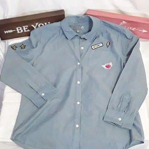 4/20$ Sears embroidered blue blouse